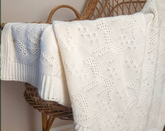 ALPACA patterned baby bassinet blanket | cotton cashmere baby blanket | knitted baby blanket