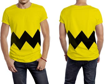 a104ac9946 Yellow Tee with Black Striped Cartoon Graphic Classic Basic Crew Neck  Unisex T Shirt