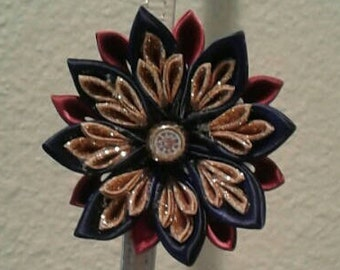 Maroon, Navy Blue, and Gold Kanzashi Flower