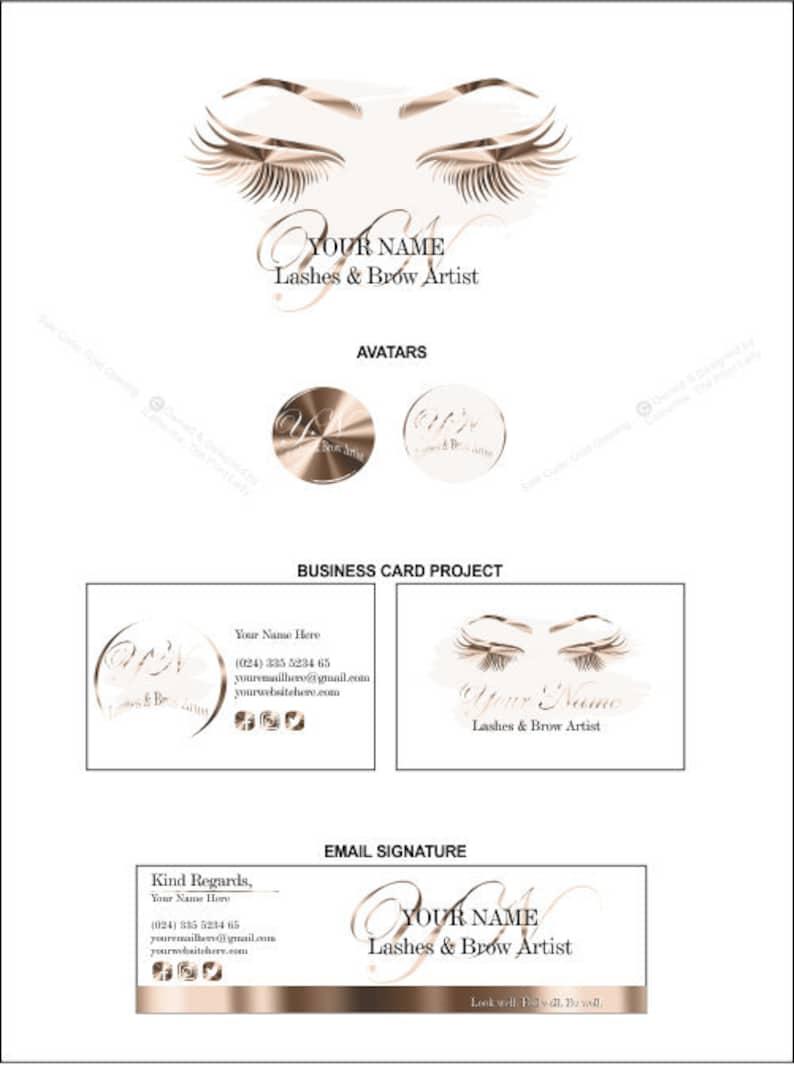 Lash Logo, EyeLash Logo, Lashes Logo, Lash Extension Logo, Logo Design,  Gold Foil Shutter Lash Logo, Premium Branding Kit