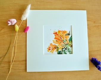 Original Flower Painting Watercolor Pyrostegia venusta (Ker-Gawl.) Miers