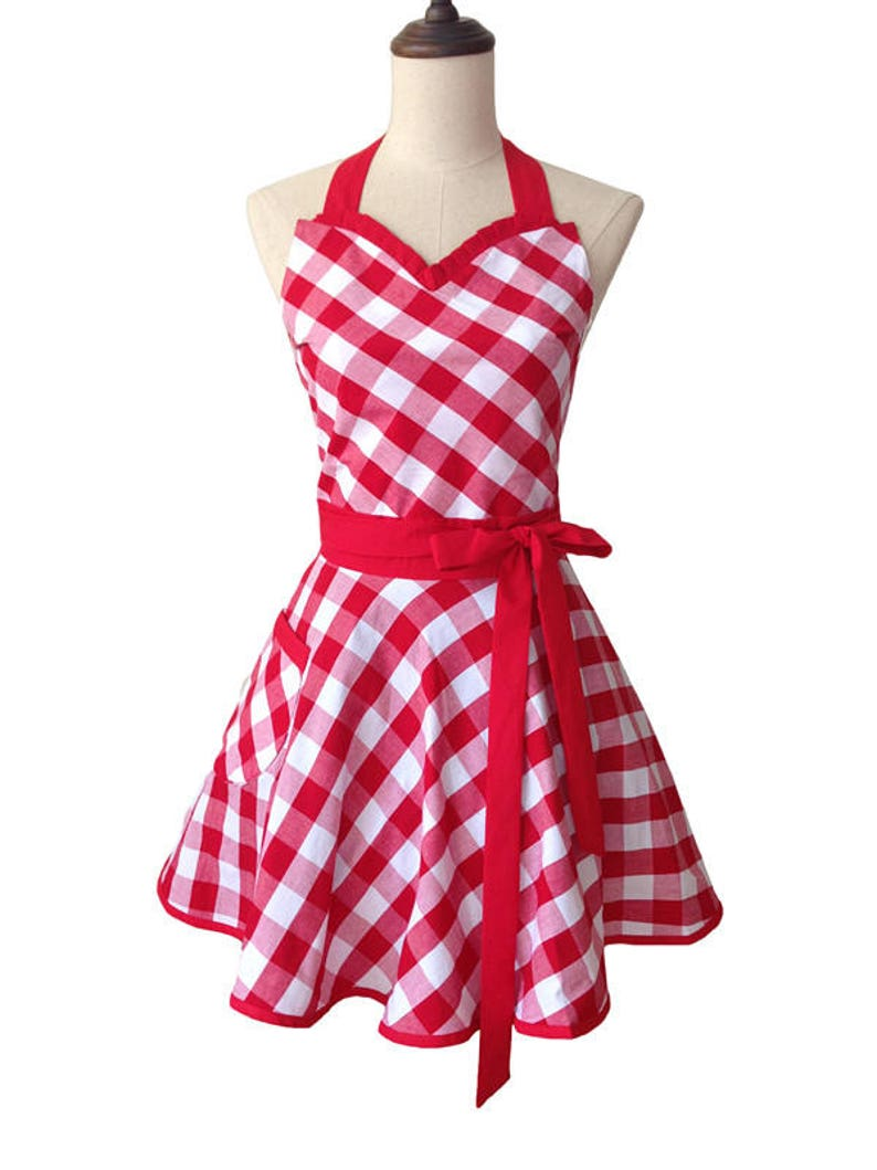 aa0312a75ea0 Red White Gingham Dress Apron | Etsy