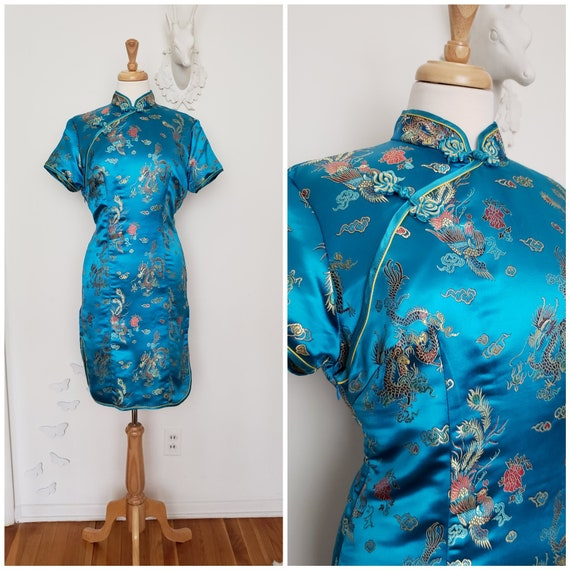 UK Stock Turquoise Dragon /& Phoenix Chinese Short Evening Party Dress Cheongsam