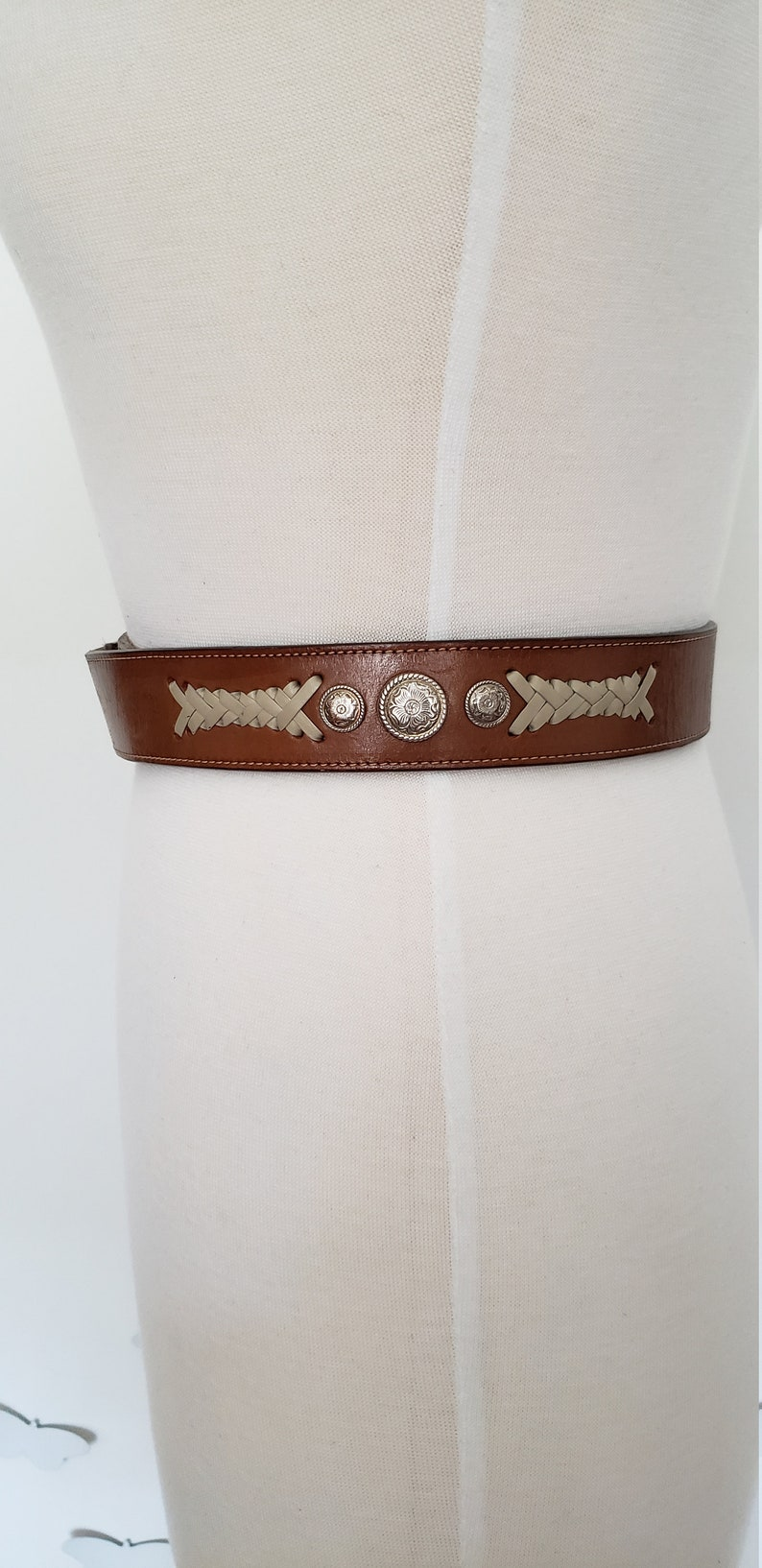 Vintage Unisex R Initial Brass Statement Buckle Belt Vintage Western Belt with Two Buckles Vintage Rodeo Men/'s Women/'s Leather Belt M L