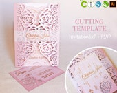 Wedding invitation template envelope gate fold flower rose for laser cutting (svg, dxf, ai, eps, cdr) papercut lasercut stencil Cameo Cricut