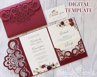 Laser Cut Wedding Invitation Template Cricut Etsy