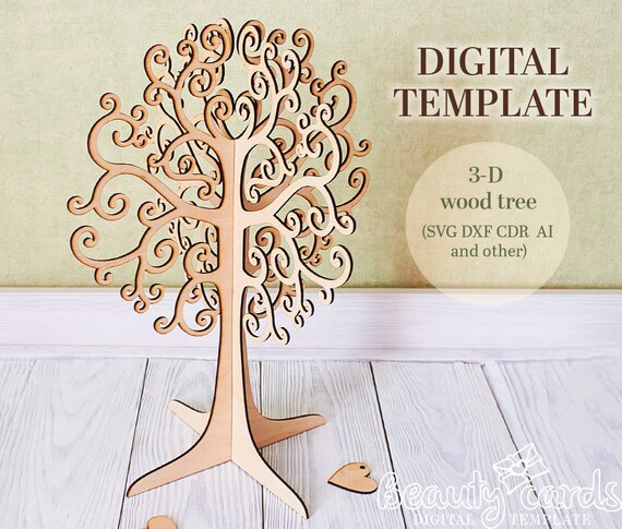 3d Wood Tree Template Laser Cut Files SVG Ai Dxf Cdr