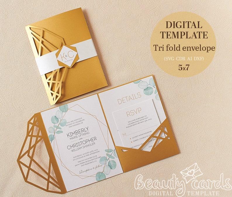 Wedding Invitation Template Envelope Tri Fold Gold Geometric For Laser Cutting Svg Dxf Ai Eps Cdr Papercut Lasercut Stencil Cameo Cricut