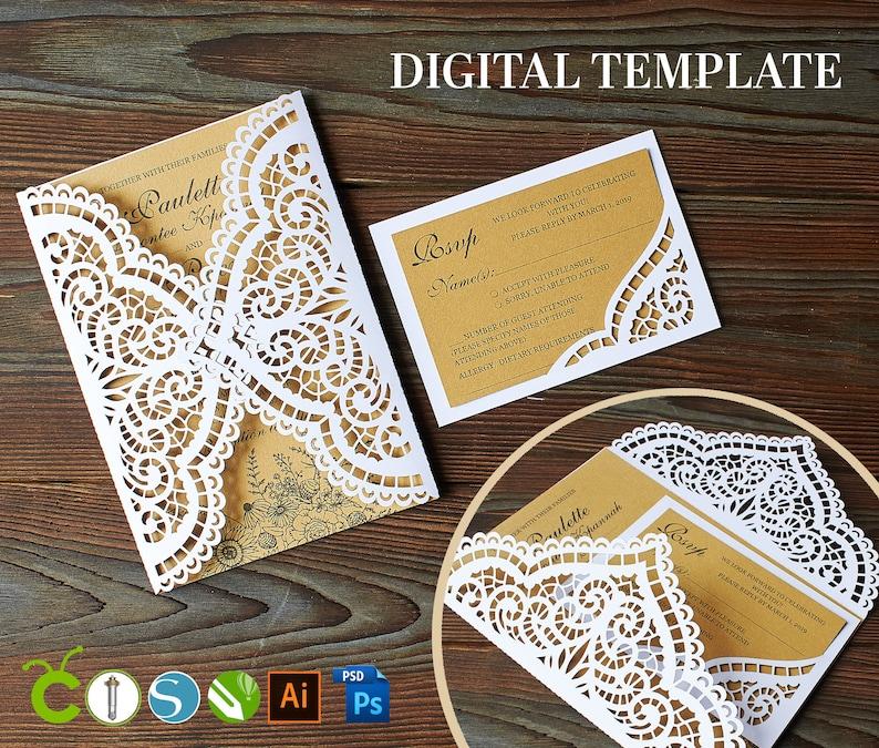 Lace Wedding Invitation Template SVG
