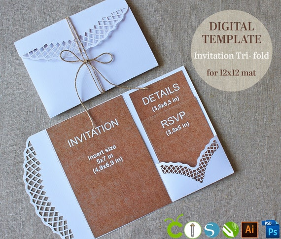 DIY Pocket Wedding Invitation Template Tri Fold Rustic 5x7 For Laser Cutting Svg Dxf Ai Eps Cdr Papercut Lasercut Cameo Cricut