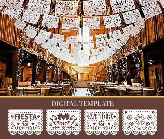 Diy Papel Picado Svg Template Mexican Wedding Decorations Etsy