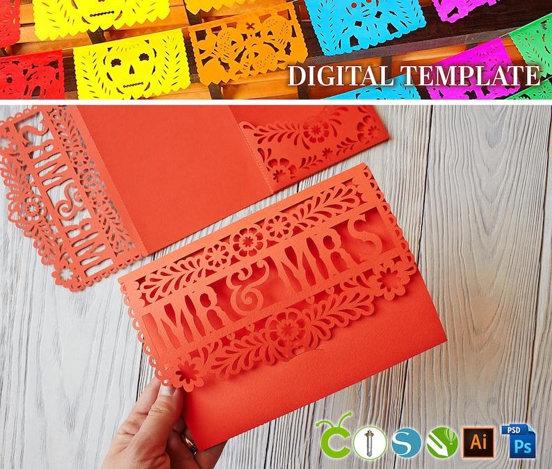 DIY Wedding Mexican Invitation Template Pocket Tri Fold Papel Picado SVG Files For Paper Cut Svg Dxf Ai Cdr Lasercut Stencil Cameo Cricut