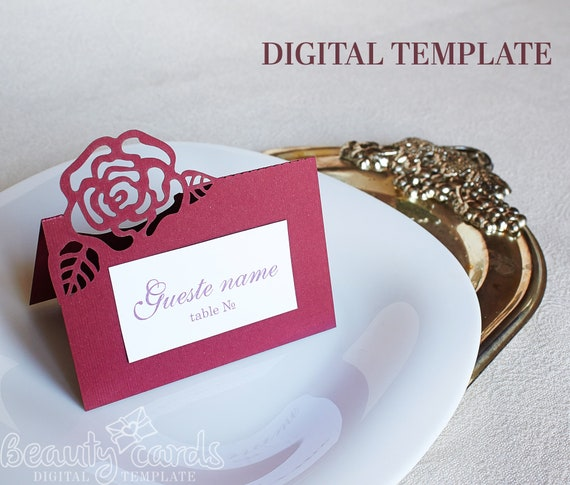 Diy Place Card Wedding Escort Cards Digital Template Flower Rose Svg Dxf Ai Cdr Paper Laser Cut File Cricut Cameo