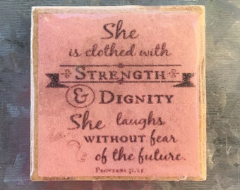 Proverbs Magnet, Inspirational Kitchen Magnet, Strength and Dignity, Magnets for Fridge, Strength Magnet, Locker Magnet, Woman Magnet