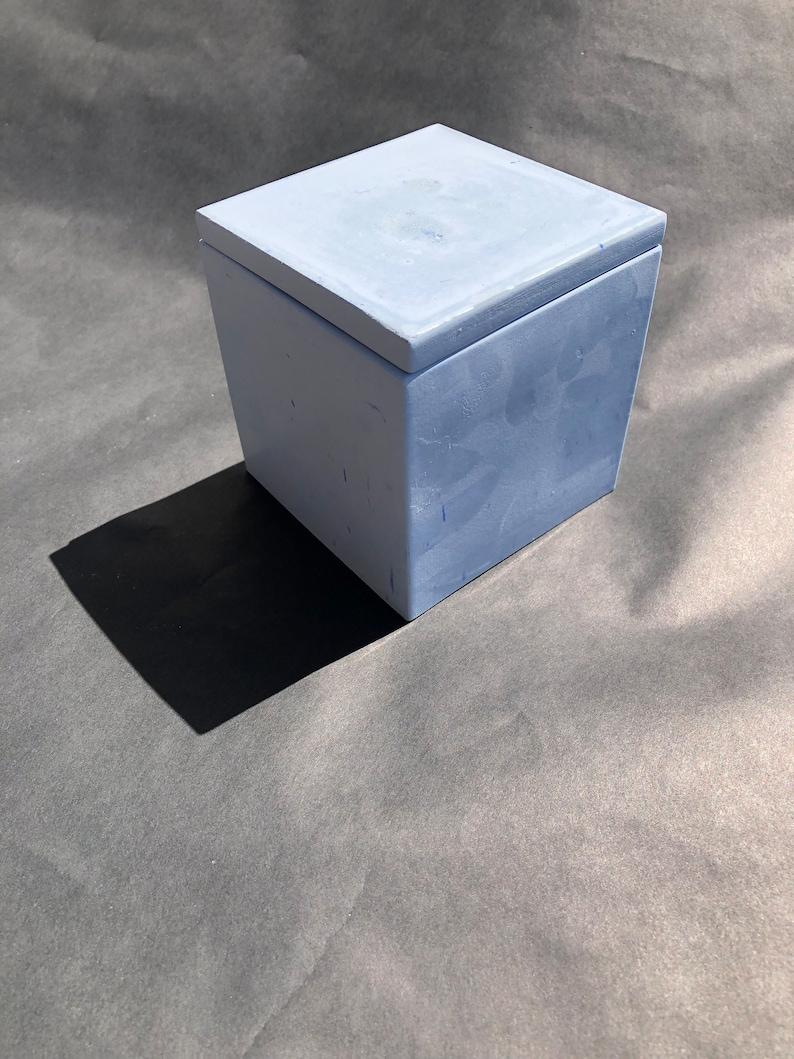 Concrete Square Succulent Planter Container Box Accessory Decoration Marble Accent Geometric Piece Solid Centerpiece Unique Classic Decor