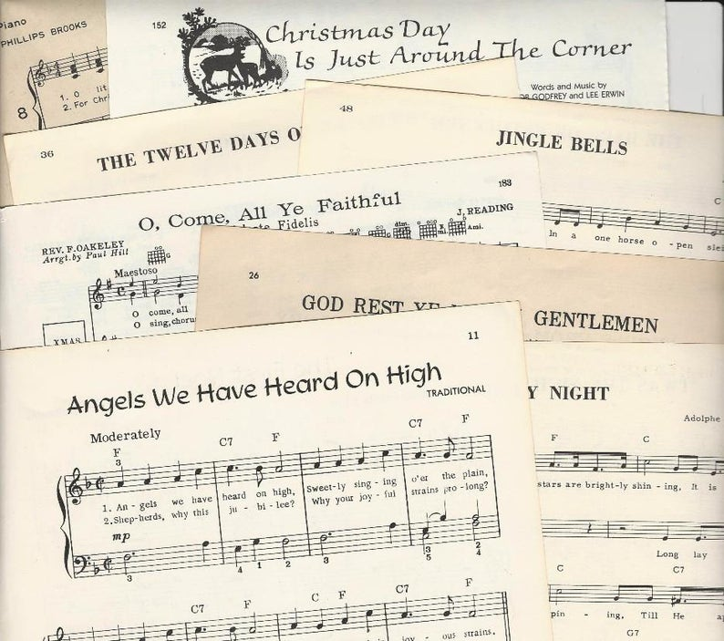 Old Christmas Carols.Vintage Christmas Music 60 Pages Vintage Christmas Carols Old Christmas Songbook Pages Scrapbooking Paper Craft Supplies Decoupage