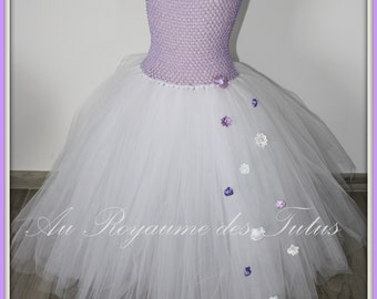 Amethyst Tutu dress long purple for ceremony or christening