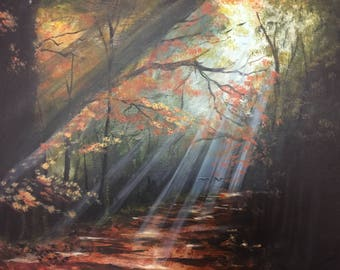 "A Silent Path. Acrylic on canvas board. 12"" x 16"" Free Shipping within the contentinal US"