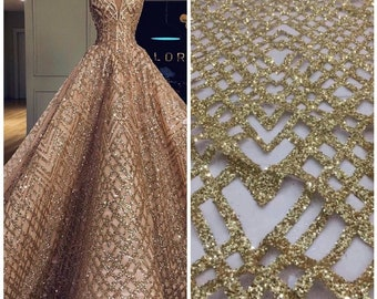 High quality gold glued glitter lace fabric for dresses lace fabric 2018  high quality french lace Sequins lace fabric for women 1 yard fddb62070e69