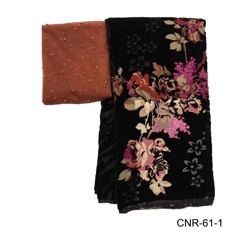 Nouvelle qualité de Design Floral imprimé velours velours velours 5 Yards avec 2 Yards Tulle dentelle tissu mariée dentelle perlée français mariée dentelle b1647e