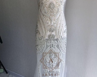 Rhinestone Applique Dress Size Design Full Length Body Hand-made Rhinestone Applique Bodice Patches