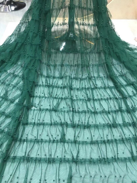 New Design 3D Beaded Tulle Lace Fabric Net Embroided Lace Applique For Wedding Dress 5 Yards