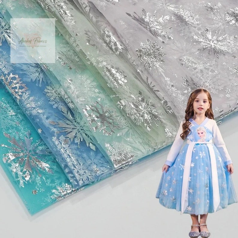 Birthday Dress Party Dress Soft Mesh Foil Snowflake Mesh For Princess Gown Frozen Elsa Silver Snowflake Tulle fabric Cosplay