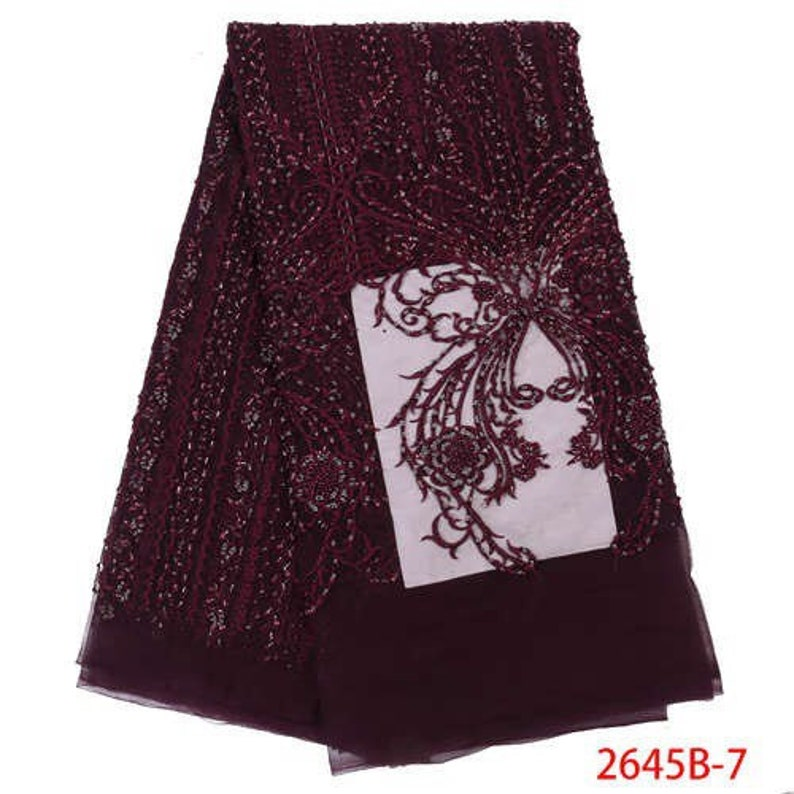 New Design Embroidery French Luxury lace Fabric With beads For Dresses Quality Tulle Lace Fabric Mesh Lace 5 Yards