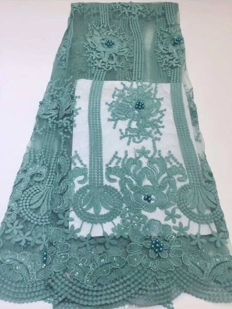 Beaded Sequins Lace Fabric New Design Tulle beaded Embroided Lace Applique For Wedding Dress 5 Yards