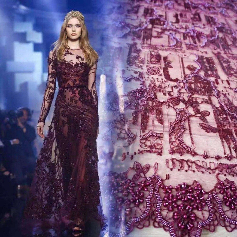 Nouveau Design perles à la main en perles luxe luxe luxe haute qualité Haute Couture design tulle Français dentelle tissu pour robes 5 Yards 07c750
