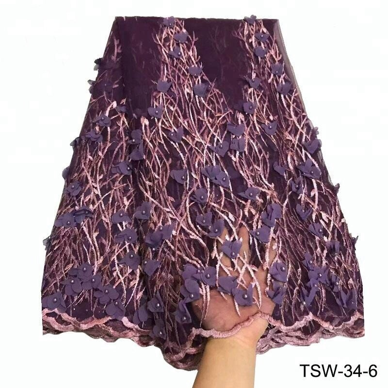 Français de broderie 3D fleur dentelle tissu avec perles pour les robes de  qualité en Tulle dentelle tissu Tulle dentelle 5 Yards e123bc20656