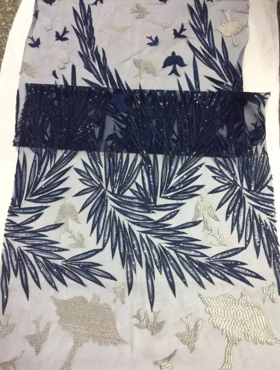 Oiseau noir dentelle et or Design Français dentelle noir paillettes tissu de haute qualité en Tulle dentelle pour journée ou soirée robes 5 Yards fedc23