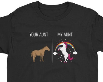 bebe0227 Your Aunt My Aunt Unicorn Shirt Youth T-Shirt Funny T-Shirt For Cool Crazy Aunts  Nephew Niece Gift TShirt Aunt Gifts Unicorns Niece Shirts