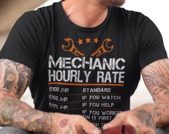 Funny Mechanic Shirt, Hourly Rates Shirt Men, Valentines Day Gift for Him, Diesel Mechanic Gift, Mechanic Gifts for Men, Aircraft Mechanic