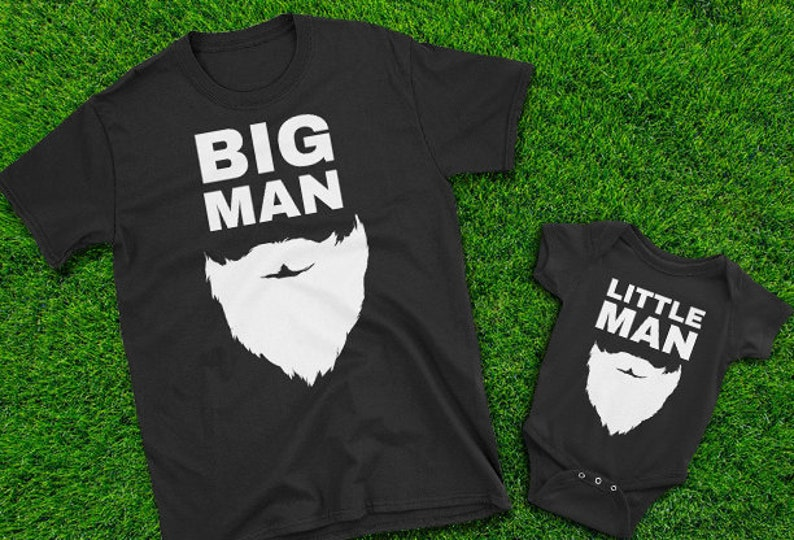 3a0880ddc Big Man Little Man Dad and son matching beard shirts Father | Etsy