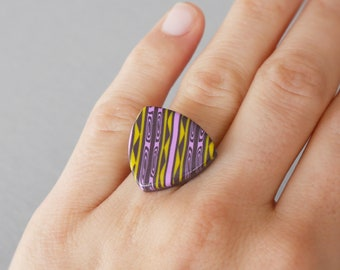 Aztec pattern polymer clay ring