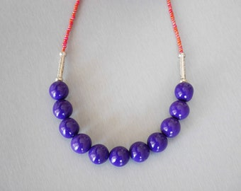 Purple and Red polymer clay beads necklace
