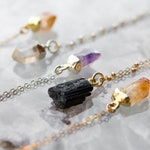 Small Crystal Anti-Anxiety Necklace • Healing Amethyst Black Tourmaline Citrine Quartz • 14k Gold Sterling Silver Small Crystal Necklace