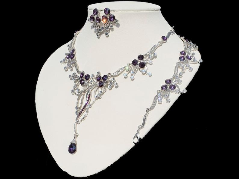 Purple white necklace set handmade drop necklace bracelet earrings 3 pieces necklace wedding silver wedding purple wedding white Rivoli