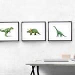 Three Dinosaur Prints, Matching Dinosaur Decor, Modern Dinosaur Prints, Dinosaur Trio, Green Triptych, Printable Dinosaurs, Digital Download