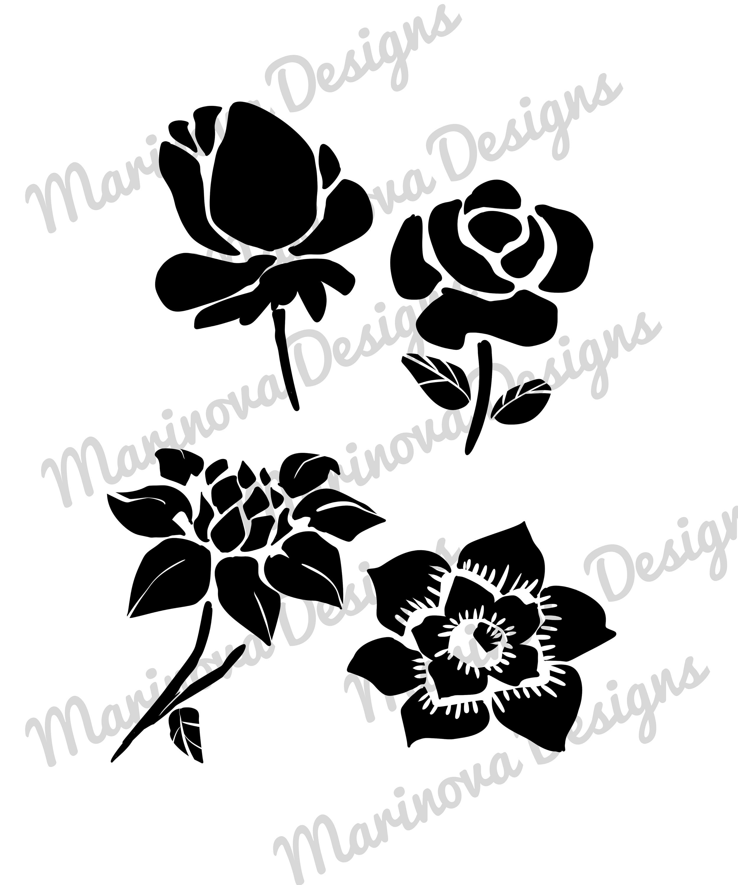 Flowers Silhouette Clip Art X 4 Paper Pack For Crafts Origami Etsy