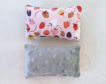 Handmade Set of 3 Mini 'Strawberry' Fruit Pillows with Bubble Mink Fleece by Gizmo & Co / Mini Guinea Pig Pillow / Mini Pillow Small Pets