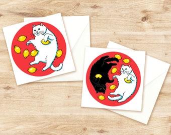 Cat Cards Set of 2, Pop Art Cats, Cat Postcards, Cat Art, Cat Illustration, Cat Post Card, White Cat, Black Cat, Ying Yang Cats, Lemon Art