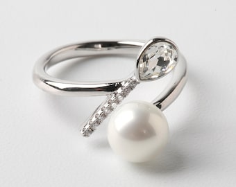 Swarovski Crystal Ring Adjustable Ring Sterling Silver Ring Open Ring Size Wedding Ring Pearl Ring Hypoallergenic Ring Bridesmaid Gift