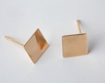 Gold Square Earrings Geometric Earrings Square Jewelry Square Stud Earrings Bridal Jewelry Dainty Earrings Gift for Her Graduation Gift