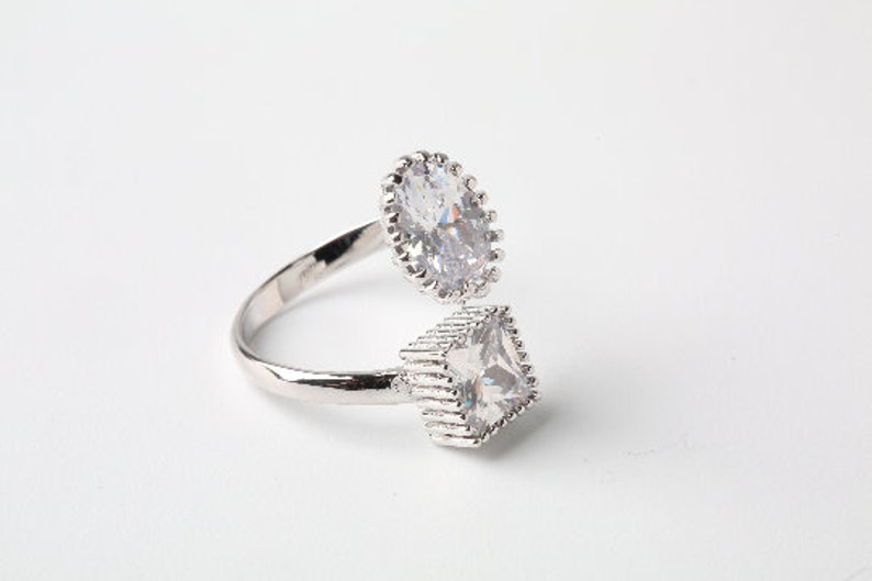 Adjustable Statement Ring Large CZ Ring Trendy Rings Open Ring Size Hypoallergenic Ring Free Size Ring Wrap Ring
