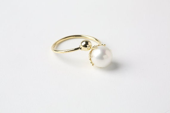 95cf6bc47f50a Pearl Ring Wrap Gold Plated Ring Free Size Ring Women Ring Adjustable  Dainty Ring Minimalist Ring Tiny Pearl Jewelry Stacking Ring