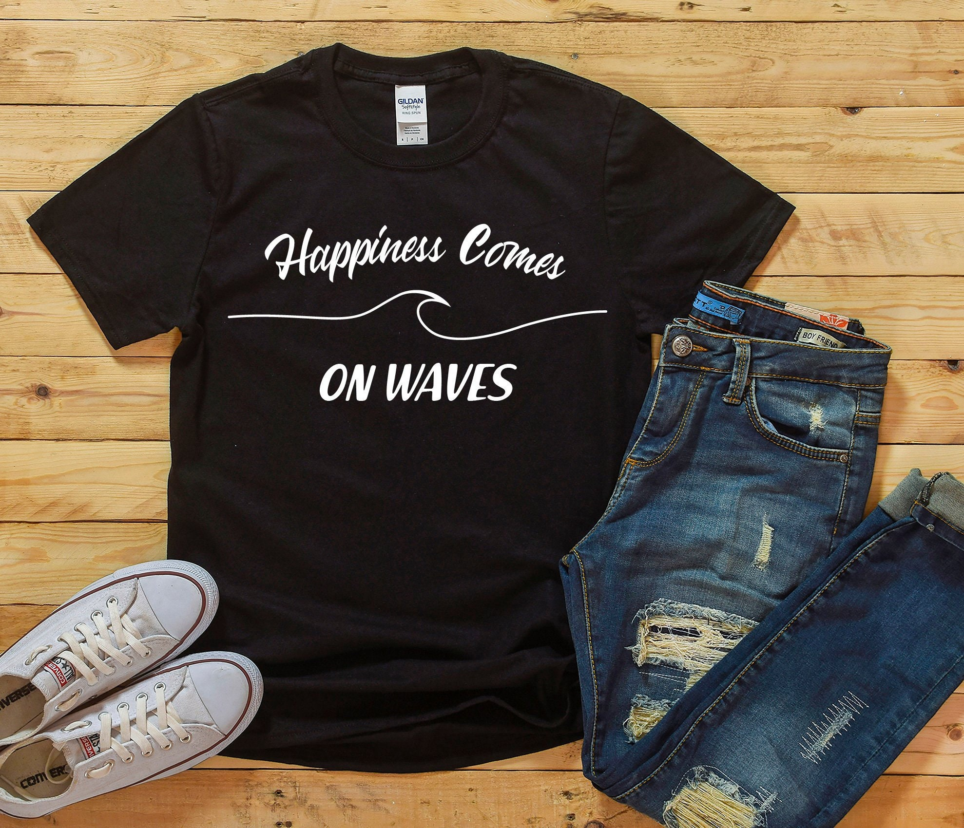 742927cba86 Surfer Happiness Comes On Waves Short-Sleeve Unisex T-Shirt