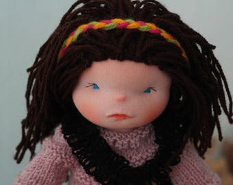 Waldorf sculptural face doll 14'' Waldorf inspired doll steiner doll cloth doll OOAK doll