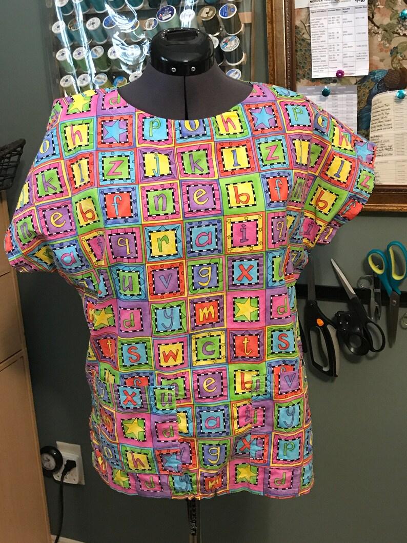 4833e6d97b5 SMALL/MEDIUM Handmade alphabet scrub top nursing scrubs kids | Etsy